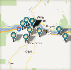 Columbia River Gorge Lodging Map